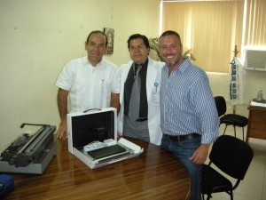 Computer being received at Hospital Civil in Oaxaca, Mexico