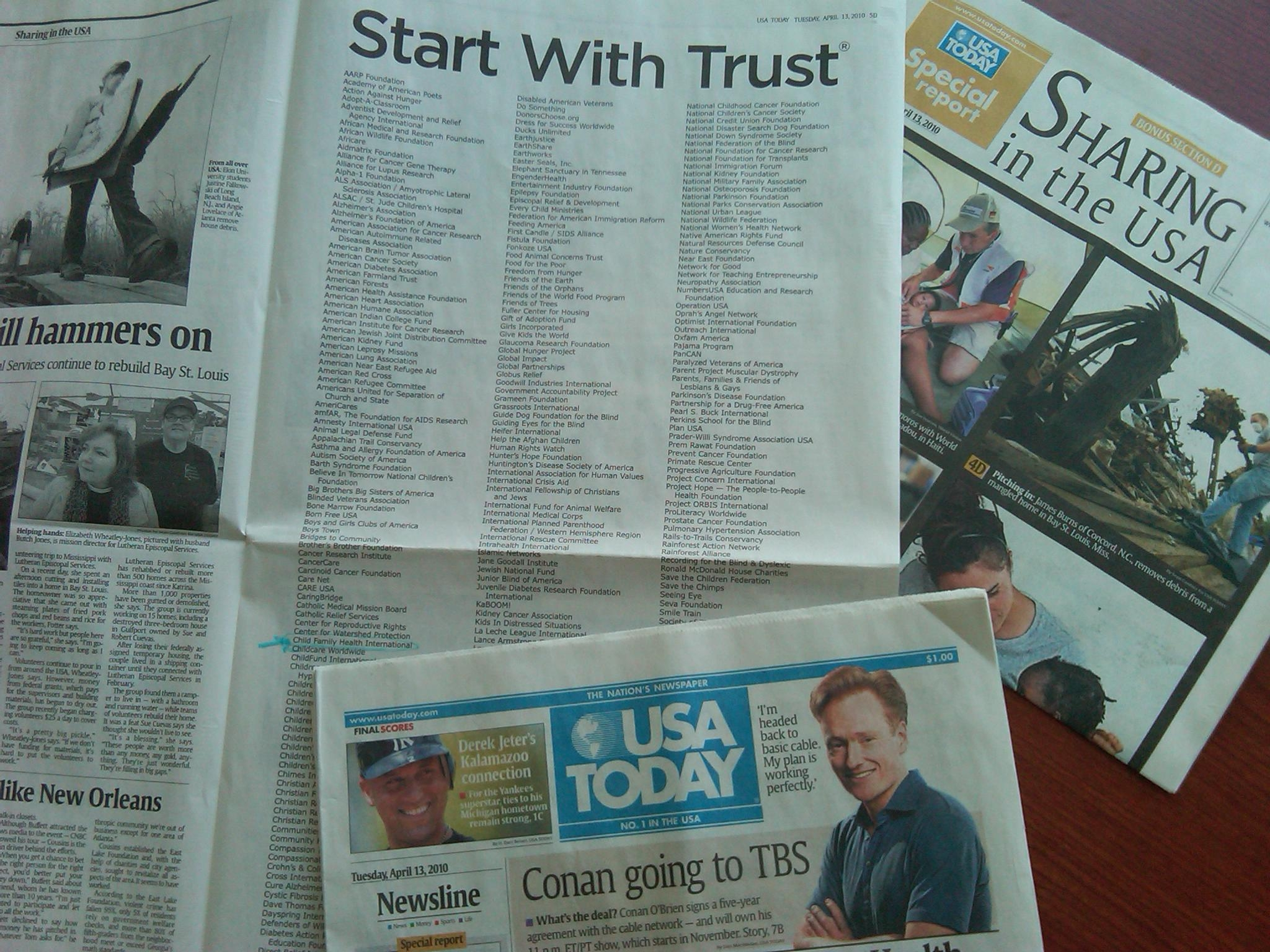 CFHI listed as Trusted Charity in USA TODAY