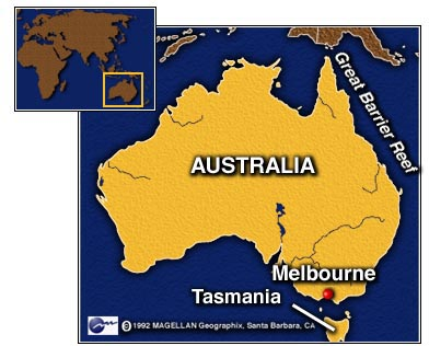 Map of Austraila and Tasmania
