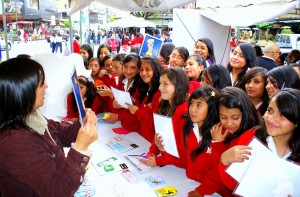 Students in Ecuador Attending a Reproductive Health Information Fair